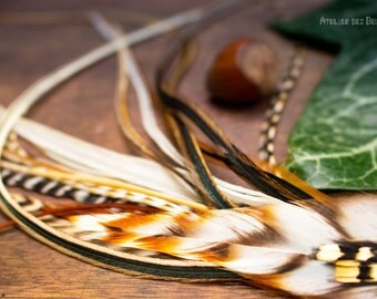 Talisman Celtic sonnerat - earring feathers and Celtic symbol