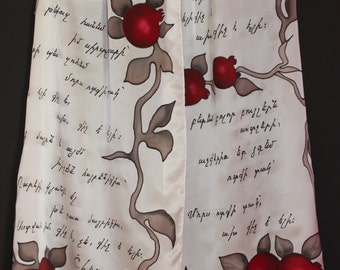 Handpainted silk scarf,Armenian,For Mother,Armenian scarf,Armenian letters,Long white scarf,Pomegranate,New year Xmas,Armenian gift,Poetry