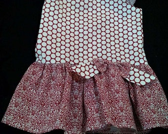Meloney's Design handmade girls 3t burgandy drop waist dress