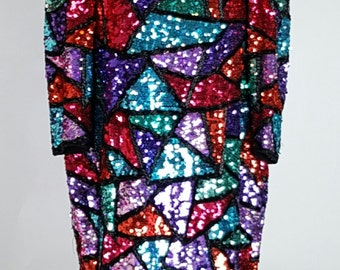 Sequin, Beaded, Colorful Dress, Red, Blue, Aqua, Purple, Multicolor, Iridescent, Sparkle, Shimmer