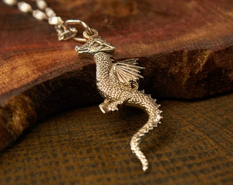 Silver Dragon, Dragon Necklace, Dragon Pendant, Dragon Jewelry, Fantasy Jewelry, Flying Dragon, Magical Jewelry, Faerie Jewelry, Dragon Gift