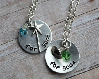 """Wicked the musical inspired """"for good"""" necklace or keychain - single or pair"""