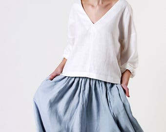Linen Skirt,  Midi Skirt, Ruffle Skirt, Bluish Grey Linen Skirt, Ruffle  Linen Skirt with Pockets, Linen Midi Skirt, Knee Length Linen skirt