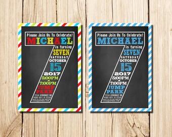 7th Birthday Invitation, seventh Birthday Invitation, Boy, Сhalkboard, 7th birthday invitations Boy, Little Man