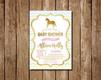 Unicorn Baby Shower Invitation, Unicorn Baby Shower, girl baby shower invitation,  Unicorn invitation, Pink Girl Baby Shower Invite