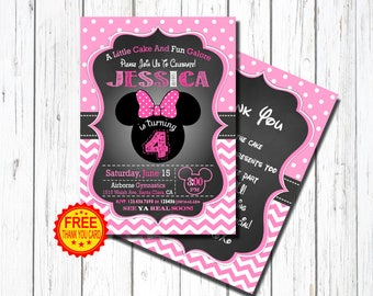 4th Birthday MINNIE MOUSE INVITATION, Minnie Mouse fourth Birthday Invitation, Minnie Mouse Birthday, Pink, bright pink