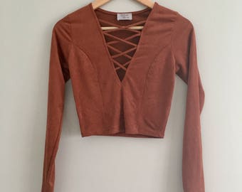 FREE US SHIPPING | Vintage Amber Terracotta Long Sleeve Crop Top with Criss Cross V-Neck + Stretchy Soft Suede / Velour Like Texture