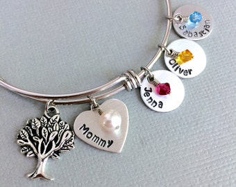 Personalized Mother Bracelet, Family Tree, Birthstone Necklace, Name Bracelet, Mother's Day, Gift for Mom, Adjustable Bangle, Christmas Gift