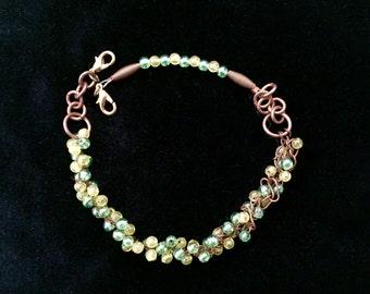 Green and Copper Adjustable Bracelet
