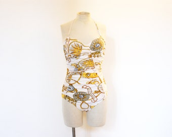 Vintage White & Gold Louis Féraud Swimsuit - Medium