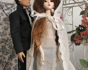 Handmade Doll Clothes,  Gothic Romance, Silver Evening Gown with Cape, Fits  43 cm, MSD, Bjds