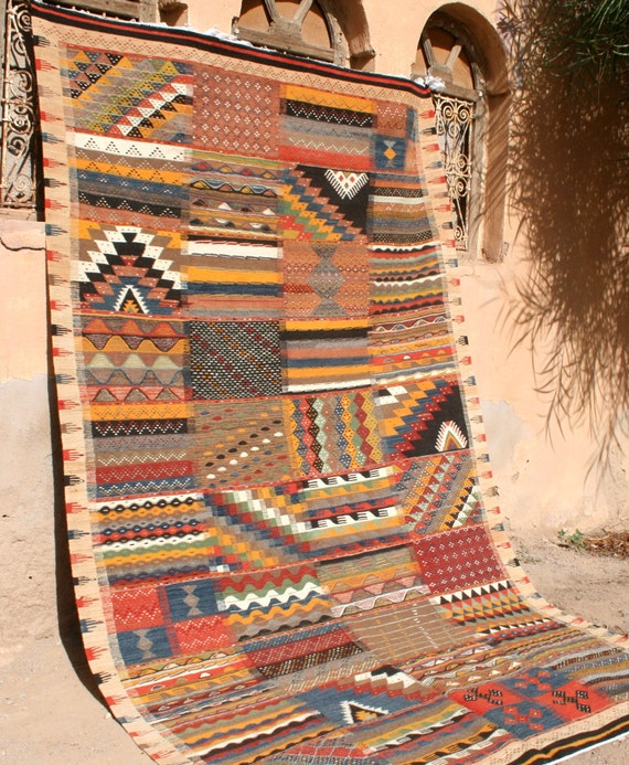 Moroccan Rug Wall Tapestry Patchwork Design Kilim Rug By