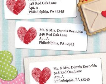 "Printable Fingerprints Heart Address Labels, Personalized 2 5/8"" x 1"" Labels, Editable PDF, Instant Download"