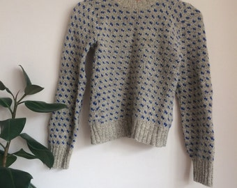 Adorable gray and blue knit wool jumper sweater UK 8