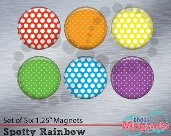Personalized Polka Dot Magnets - SET OF 6 - Teacher Gift - Rainbow - Stocking Stuffer