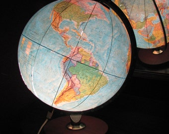 Vintage Illuminated SCAN GLOBE  Denmark World Globe LAMP 1970