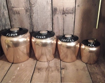 Vintage Spun Copper  Kromex Canisters Kitchen Canisters Kitchen Storage  Canister Bin Countertop Canister Set