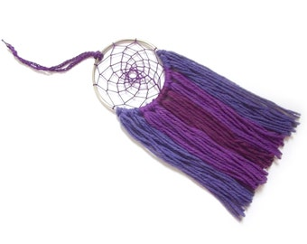 Dark Purple Dream Catcher Purple Dreamcatcher Purple Wall Hanging Small Dream Catcher Yarn Wall Hanging Boho Wall Decor Nursery Crib Mobile