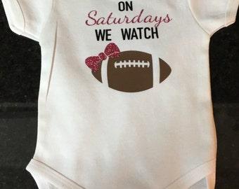 Football Onesie, Football shirt, On Sundays we watch football, On Saturdays we watch footbal, Baby Football Outfit, Baby Football Onesie