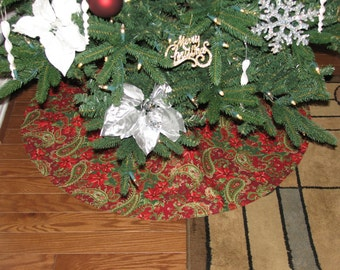 Red tree skirt, gold tree skirt, elegant tree skirt, sparkly tree skirt, Christmas tree skirt, Xmas tree skirt, Christmas decoration
