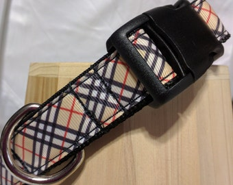 Classic Tan Plaid Dog Collar - FREE Shipping