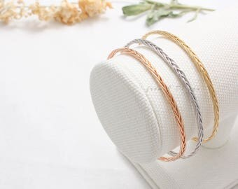 Wire Knitted Cuff Bracelet