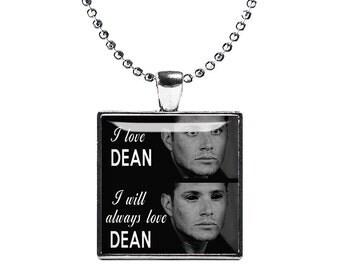 Dean Demon Supernatural Dean Winchester Necklace Square Pendant Fandom Jewelry Jensen Ackles Cosplay Fangirl Fanboy