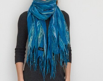 Merino wool scarf,  handmade wrap, felted shawl, Cobweb Felt Scarf, in turquoise, wool, silk, tussah, one of a kind Custom,fringe
