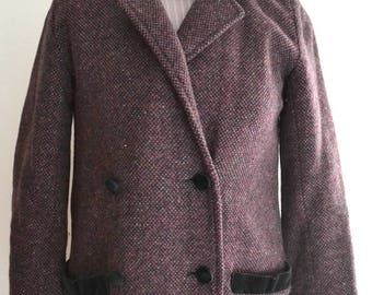 SALE Was 30 NOW 25 Vintage purple wool long length maxi  coat Small
