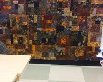 """Brown Tone Batik Quilt Top Randomly Pieced 84"""" x 92"""""""