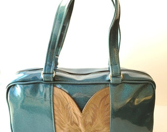Teal Vintage Cowboy Boot Purse, Sparkle Glitter Auto Upholstery Vinyl, Retro Shoulder Bag Tote
