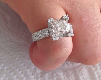 Certified 3.25 CT Princess Cut and and Round Cut Diamond engagement Ring 14k white gold  hand made