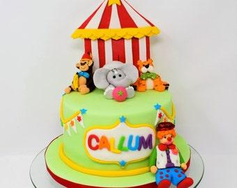 Handmade Edible Circus Cake Topper Set