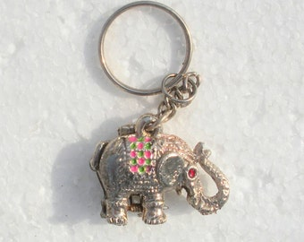 "Vintage Silver Tone Indian Elephant Key Chain - 1 1/4"" Elephant - Painted On Colors - near mint condition"