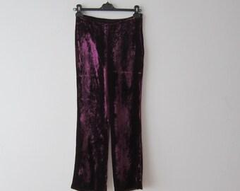 Vintage Purple Velvet Pants Womens Burgundy Velvet Trousers Small Size Velour Pants Regina Rubens Velvet Pants