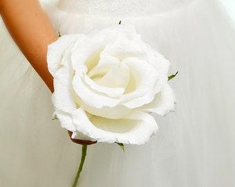 Wedding Bouquet Paper Roses White Flowers Bridal Bouquet Wedding Accessories Home Decor Bridesmaids Bouquets Wedding Decor Roses Flowers