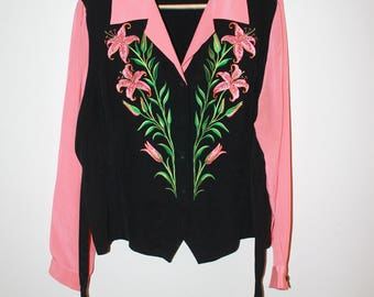 BOB MACKIE vintage button down pink and black embroidered flower top size L