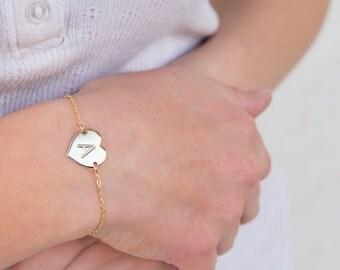 Gold Heart Bracelet: Dainty Love Letter Bracelet, Friendship Bracelet, Bridesmaid Bracelet, Gold Filled Jewelry, everyday bracelet, Personal
