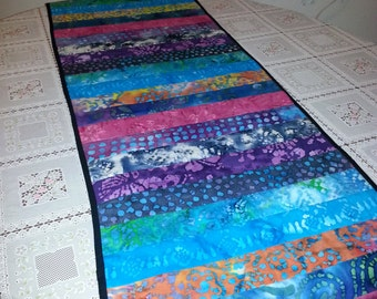 Quilted Batik Table Runner, Reversible (BB1)