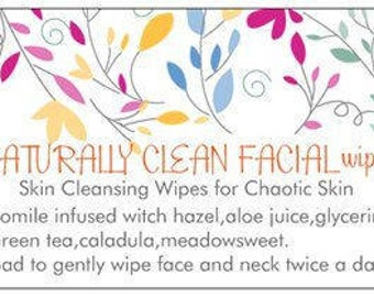 face wash/oily skin/anti acne/ autism/natural skincare/Naturally Clean Facial Wipes,  Acne facial cleanser, anti acne