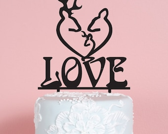 Deer Heart Wedding Cake Topper