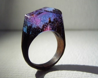 Aurora borealis Wood ring. Secret world inside the ring. Wooden rings for women.  Wood resin ring.  Fashion resin jewelry.  Statement ring.