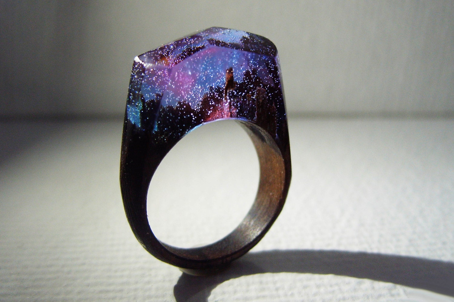 Walnut ring aurora borealis womens wood ring for Design your own wooden ring