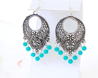 Ocean Blue Dangle Earrings, Silver and Teal Earring, Teal blue Chandelier Earring, Antique Silver Chandelier Earring, Aqua Blue Boho Earring