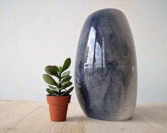 Ceramic Modern Vase // Blue and Black // Totally Handmade ( NO MOLD USED)