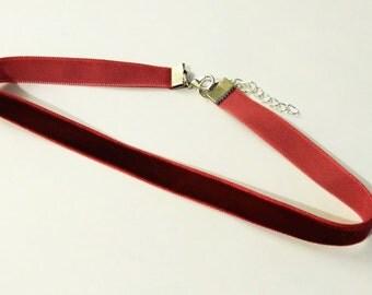 burgundy velvet choker | choker | 90s choker | choker necklace | 1 cm 3/8 inch choker