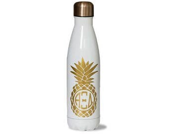 AXID  Alpha Xi Delta Sorority Stainless Steel Water Bottle With Gold Pineapple Greek Letter Design.