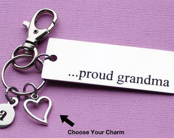 Personalized Grandma Key Chain Proud Grandma Stainless Steel Customized with Your Charm & Initial - K332
