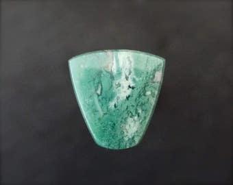 Chrome Chalcedony cabochon form Zimbabwe. Designer blue green gemstone low dome cabochon.