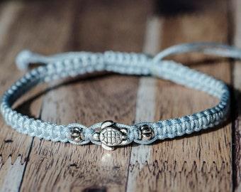 Mini Silver Turtle Custom Adjustable Woven Bracelet